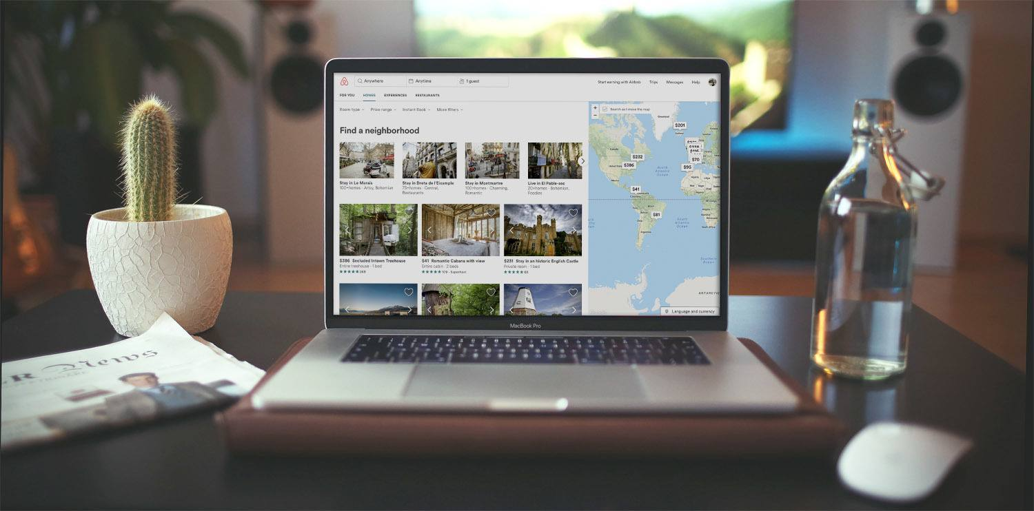 Cover image presenting Macbook with Airbnb map on the screen
