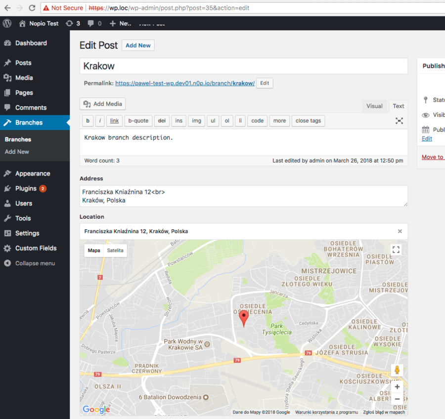 Company Branches with Google Map & Geolocation in WordPress - Nopio